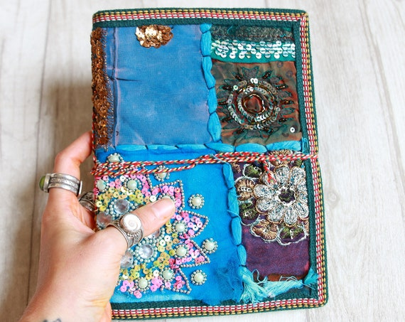 BLUE SARI JOURNAL - Indian sari notebook -Student -Journal -Back to school -Sketch book- Photo album- Scrap book- Stocking Filler- Gift-Sale