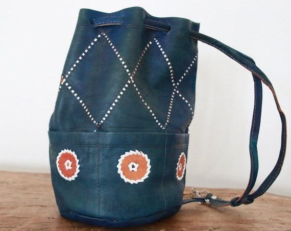 TIEDYE NAVAJO BAG - Vintage Mottled Leather - Leather Shoulder bag - Aztec Bucket Bag - Satchel - Bespoke Handbag - Moroccan Satchel  Bag