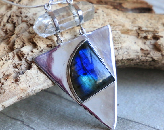 LABRADORITE TRIANGLE NECKLACE - Divine Feminine - Labradorite & Quartz - Sterling Silver - Crystal - Bespoke - Spiritual - Reiki Gift