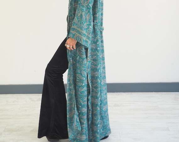 RUBY SPARROW KIMONO - Paisley print Kimono - Floor length Jacket - Cape - Kaftan - Vintage inspired Dressing Gown - Bohemian Wrap Dress