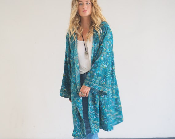 MID LENGTH KIMONO - Indian Silk Cardigan - Cover Up - Bohemian Beach Kaftan - Lounge Dress - Wrap Around Kimono - Lingerie - Summer Jacket