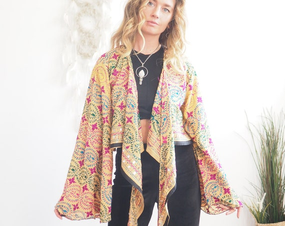 EMBROIDERED SILK TOP - One Available - Bell sleeve - 70s 60'S - Recycled Fabric - Vintage Kimono - Heavily Embellished - Hand embroidered