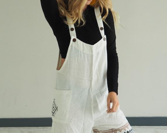 WHITE CROP PLAYSUIT - Short set - Ruby Sparrow Overalls - Organic Cotton - indian Block Print - Summer - Unisex Jumpsuit -  Dungaree shorts