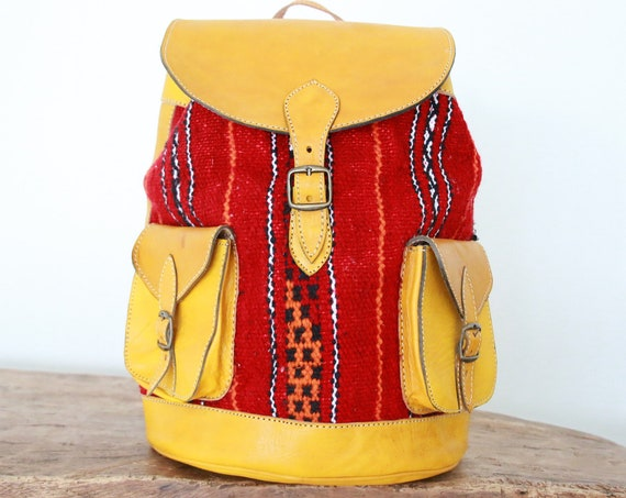 XL VINTAGE RUCKSACK - Bright Yellow Large Rucksack - 60's 70's Backpack - Aztec  - Vintage Moroccan Kilim - Student School bag - Travel bag