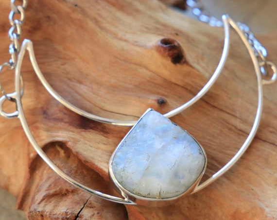 GLOWING MOON NECKLACE - Iridescent Moonstone - Sterling Silver - Bespoke Moon Necklace - Rare raw Moonstone - Rough Crystal - Birth Moon