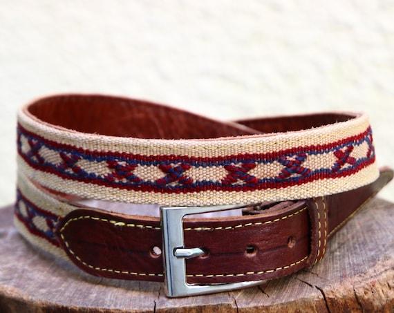 AZTEC LEATHER BELT - Vintage - Kilim Rug - Moroccan Up-cycled Belt - Recycled Carpet Rug - Navajo - Patterned Leather - Boho Accessories