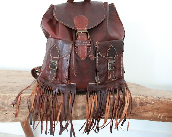 VINTAGE FRINGE RUCKSACK - Leather Tassel Bag - Fringe Bag - Vintage Leather Satchel - Lined Leather Travel Rucksack - Rare Vintage - Hippie