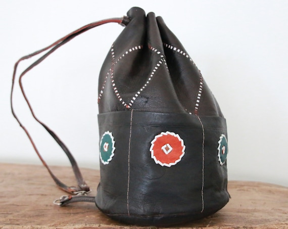 BLACK VINTAGE BAG - Leather over shoulder bag - Duffle bag - Aztec - Bohemian - Tribal - Duffle - Satchel - Bespoke - Autumn - 70's - 60's