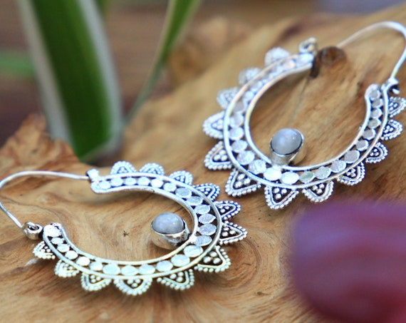 MOONSTONE FLOWER EARRINGS - Statement Bohemian Set - Tribal jewellery Sale - Handmade crystal jewellery - Moon Gift - Zodiac - Birthstone