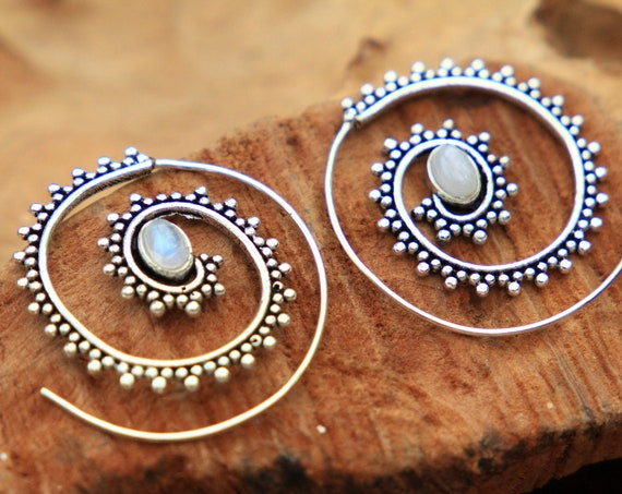 MOONSTONE SPIRAL EARRINGS - Tribal Crystal Earrings - Twist Earrings - Sacred Geometry Style - Ethnic Gift - Stocking filler boho Jewellery