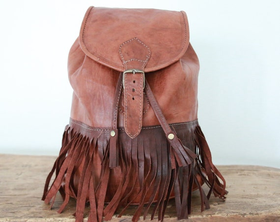 LEATHER TASSLE RUCKSACK - Fringe Bag - Fringe Backpack - Tassel Bag - Leather Satchel - Lined Leather Bag - Travel Rucksack - Day bag - Boho