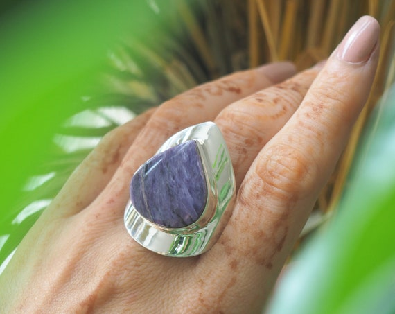 LUXURY STATEMENT RING - Charoite Crystal - Incredible Adjustable Ring - 925 Sterling Silver - Purple healing crystal - Chunky Ring - Chakra