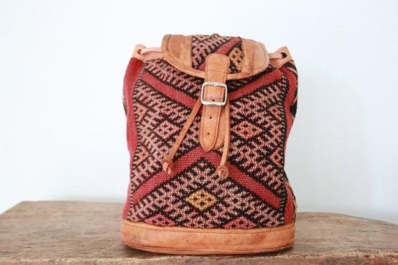XL CARPET BACKPACK - Vintage rucksack - Hippie Backpack - Aztec - Moroccan Rug Bag - Navajo Leather rucksack - Student Gift - 70's Retro