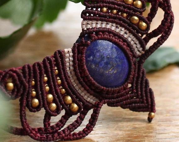 RED LAPIS LAZULI - Micro macrame - Choker Necklace - Healing Gemstone - Adjustable Xmas Gift / Valentines - Vintage - Ethnic - Boho Tribal