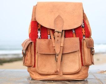 71df27c558 XL VINTAGE RUCKSACK - Large Leather Rucksack - 60 s   70 s Backpack - Aztec  - Vintage Moroccan Fabric - Student School bag - Travel bag