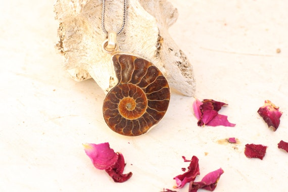 AMMONITE NECKLACE - Sterling Silver - Fossil Necklace - Fractal - Crystal Necklace - Archaeology - Sacred Geometry - Shell - Handmade