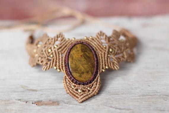 MACRAME CRYSTAL CHOKER - Agate Necklace - Gift - Crystal Choker - Chakra Necklace - Healing Crystal Jewellery - Bespoke - Gemstone - Beaded