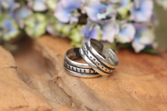 SILVER RING STACK - 925 Sterling Silver Ring Set - Adjustable - Oxidised Rings - Tribal - Vintage style - Stack rings - Unisex - Mens Ring