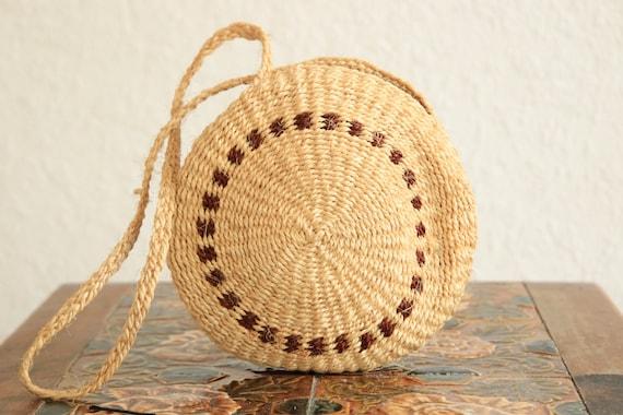 WOVEN RATTAN BAG - Ethnic Vintage bag - Hippie - Summer handbag - Rattan Purse - Straw bag - Handwoven - Embroidered bag - Round Bag - 70's