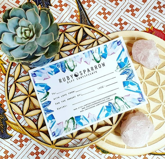 GIFT CERTIFICATE - Crystal Gift - Gift Voucher - Mail Voucher - Bohemian Gift - Crystal Box - Chakra Box - Bohemian Gift - Christmas Voucher