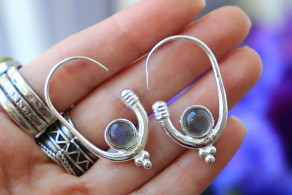 LABRADORITE HOOK EARRING - Silver Plated Earrings - Healing Crystal Jewellery - Boho - Vintage - Festival - Gift - Gemstone Earrings - Moon
