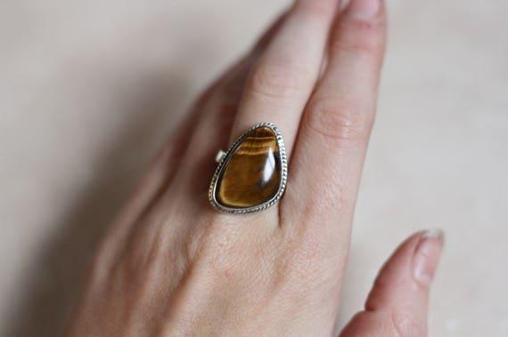 ADJUSTABLE TIGERSEYE RING - Sterling Silver Ring - Tigers Eye - Healing Crystal - Bohemian - Statement Ring - Bohemian - Gift - Gemstone