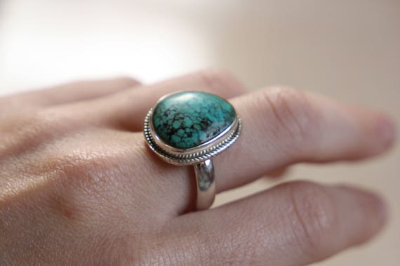 NATURAL TURQUOISE RING - One size - Sterling silver ring - Crystal ring  - Semi precious - Turquoise jewellery - Statement - Valentines gift
