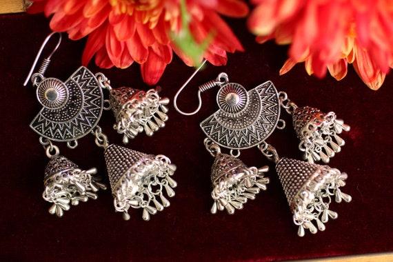 INDIAN WEDDING EARRINGS - Vintage Tribal jewellery - Bell Earrings - Dancer - Exotic Ethnic Earrings - Statement - Afghan Style - Bohemian