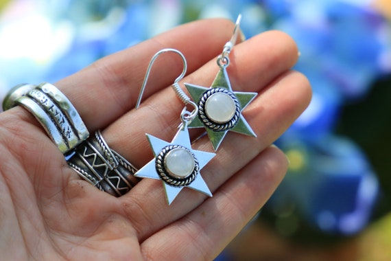 MOONSTONE STAR EARRINGS - Oxodised Silver Earrings - Moonstone - Healing Crystal Jewellery - Chakra Earrings - Boho - Vintage - Festival