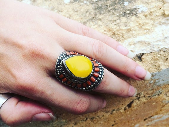 STATEMENT MOROCCAN RING - Vintage ring - Adjustable ring - Crystal Ring - Antique style - Handmade - Gift - Costume jewellery - Statement