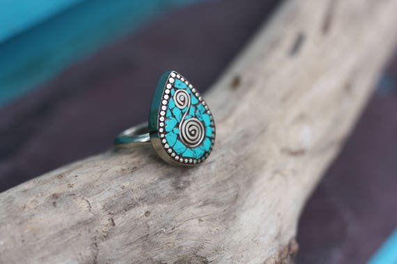 ADJUSTABLE TURQUOISE RING - Vintage Ring - Handmade - Bespoke - Gemstone Ring - Mosaic - Gift - One size fits all - Turquoise - Moroccan