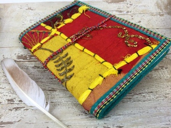 SUNSHINE JOURNAL - Indian sari notebook - Rainbow notebook - Student - Back to school - Sketch book - Handmade paper - Natural paper