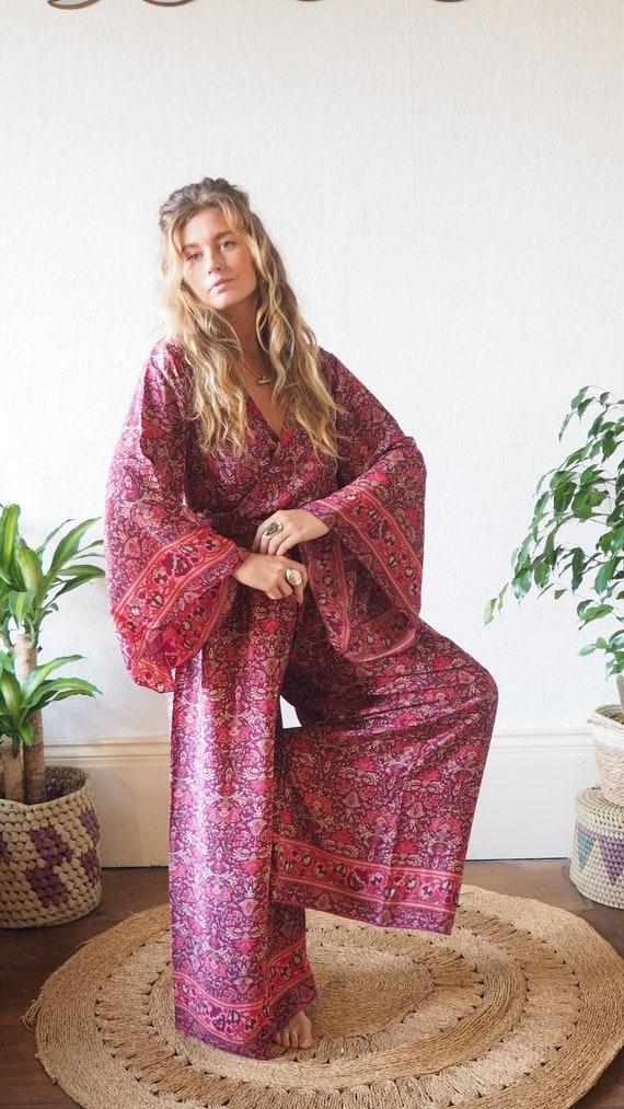 70'S 2 PIECE SET - Silk Blend Jumpsuit - Bell sleeve & Trouser set - Jumpsuit Style - Wide leg Flares - Lounge wear - 60's pant set - Folk