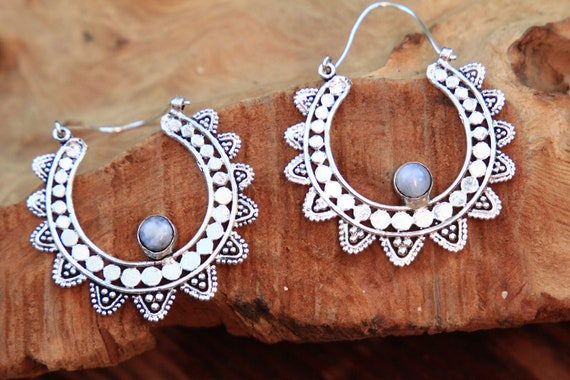 MOONSTONE FLOWER EARRINGS - Statement Bohemian Set - Tribal jewellery Sale - Handmade crystal jewellery - Moon Gift - Zodiac - Birthstone
