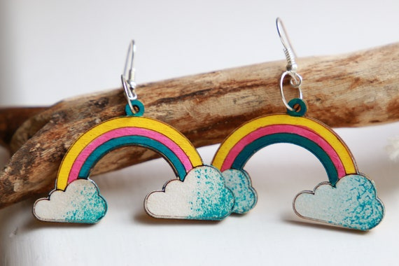 RAINBOW PRIDE EARRINGS - Summer - Hand painted wooden earrings - Laser cut Reclaimed wood - Eco - Lgbtq - Gay pride - Cloud Earrings - Happy