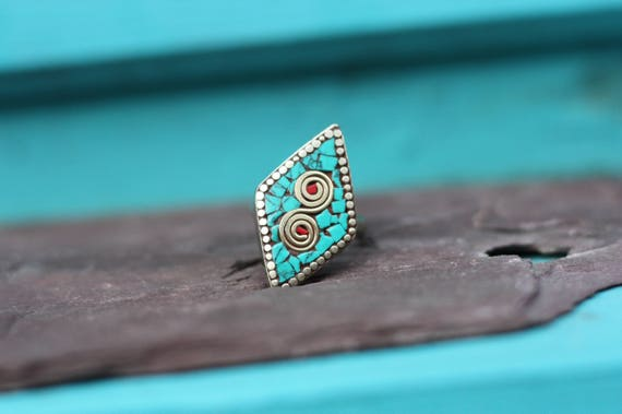 VINTAGE TURQUOISE RING - Diamond Ring - Handmade - Bespoke - Gemstone Ring - Mosaic - Gift - One size fits all - Turquoise - Moroccan