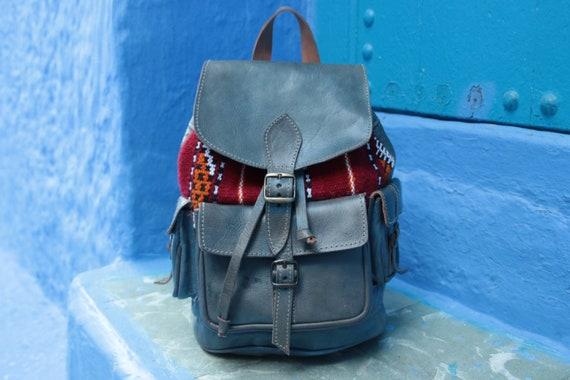 GREY/BLUE RUCKSACK - Large Vintage Rucksack - 60's / 70's - Aztec - Vintage Moroccan Fabric - Leather School bag - Travel Backpack - Student