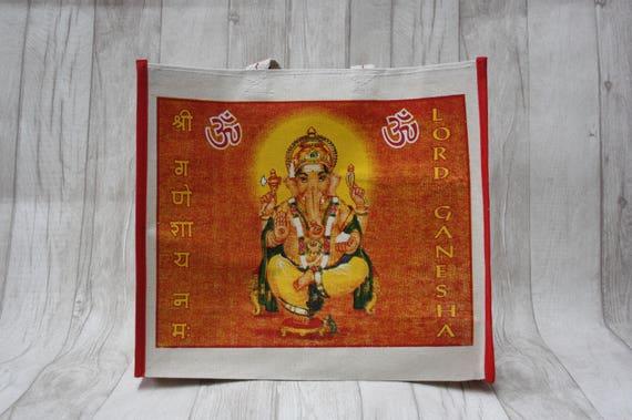 INDIAN GANESH BAG -Yoga bag -Mandala -Hippie bag -Shopping Bag- Tote Bag- Bag for Life- Upcycled-Recycled- Eco Friendly- Vegan Bag- Festival