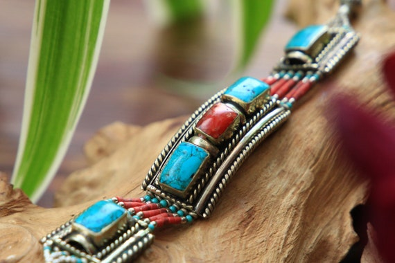 VINTAGE NEPALESE BANGLE - Tibetan Style bracelet - Statement Arm cuff - Afghan Indian Jewellery - Unique Boho Gift - Antique Coral Turquoise