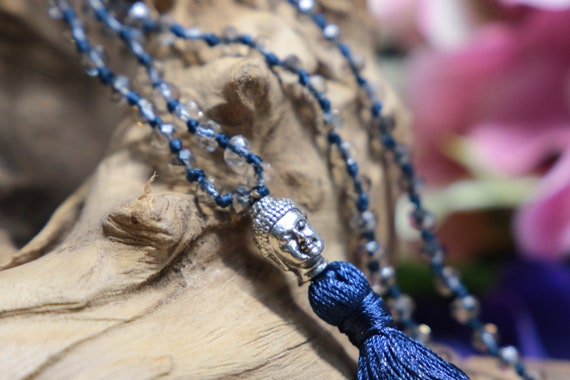 BLUE BUDDHA NECKLACE - Costume jewellery - Spiritual - Tassel - Handmade necklace - Faceted necklace - Teenage Gift - Healing - Buddhist