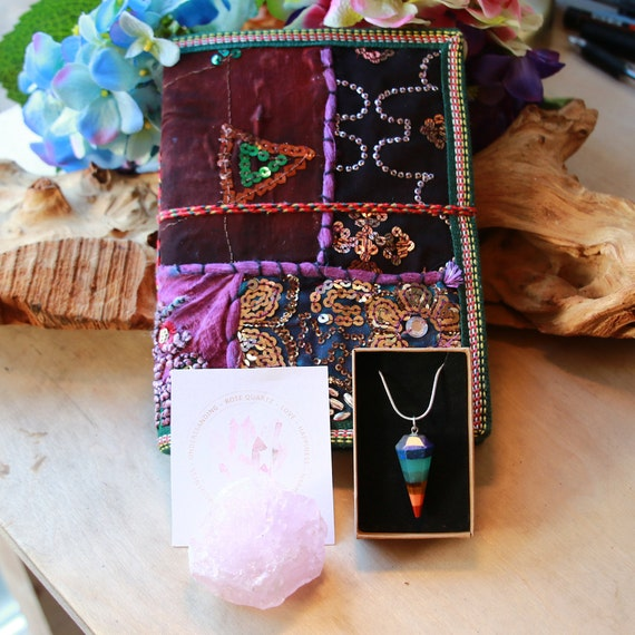 SARI JOURNAL BUNDLE  - Self Love - Anti Stress - Healing - Anxiety / Depression Gift - Rose Quartz Set - Birthstone Bundle - Reiki Chakra