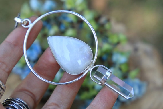 MOONSTONE & QUARTZ NECKLACE - Sterling Silver - Full Moon - Gems - Crystal - Statement - Reiki necklace - Love stone - Vibration - Bespoke