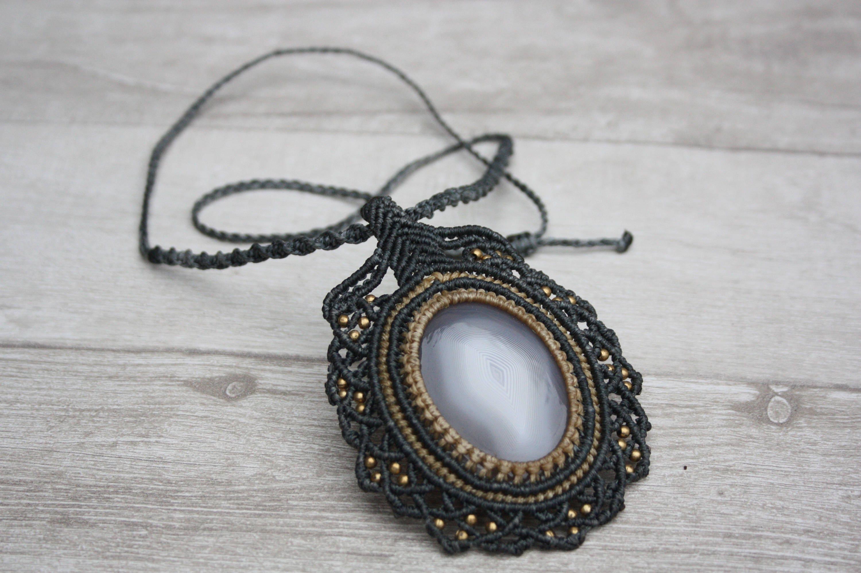 macrame choker Handmade gray macrame necklace