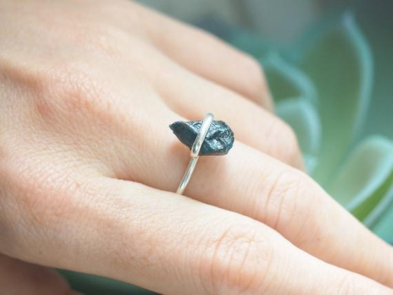 DARK GREEN TOURMALINE - Deep Green Sterling silver Ring - 925 - Unpolished - Rustic Gemstone - Organic Crystal - Alternative engagement ring
