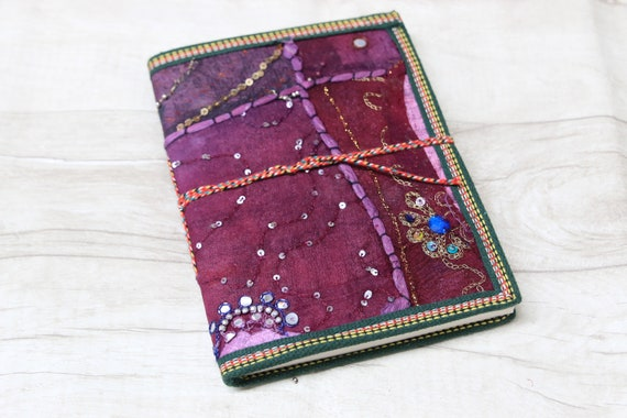 PURPLE SARI JOURNAL - Indian sari notebook -Student -Journal -Back to school -Sketch book -Diary- Planner- Stocking Filler- Gift- Scrapbook