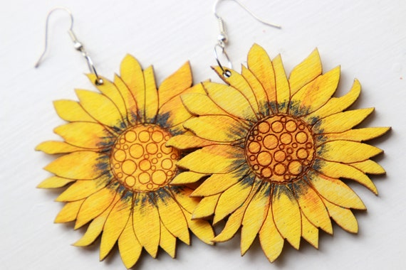 STATEMENT SUNFLOWER EARRINGS - Summer - Flower Power - Daisy - Hope Symbol - Hand painted - Reclaimed wood earrings - Laser cut - Eco Gift