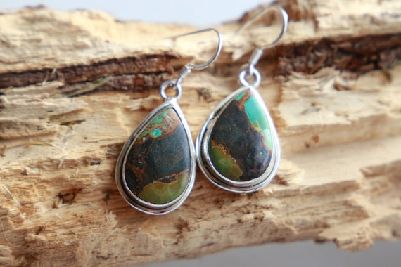 RARE TURQUOISE EARRINGS - Incredible Green turquoise - 925  - Rare Crystal - Natural Gemstones - Vintage style - Brown turquoise - Bohemian