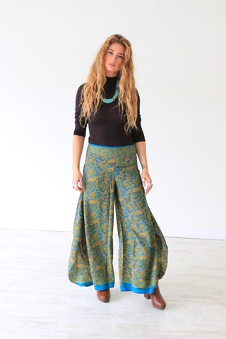 PAISLEY BLUE FLARES - Limited Edition Silk Flares - Handmade - Vintage - Festival - Hippie Style - Wide leg - Skirt - Maxi trouser - 70's