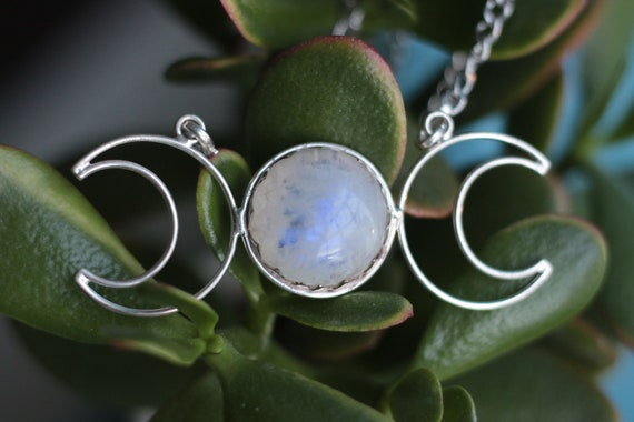 STATEMENT TRIPLE MOON - Moonstone Necklace - Moon Jewellery - Galaxy - Gemstone - Zodiac - Moon phase - Crystal - Divine Feminine - Gift