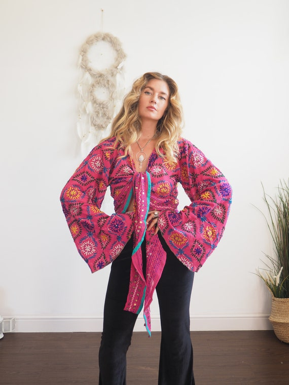 PINK DREAM TOP - Sheer bell sleeve - Recycled Vintage Embroidered Fabric - Heavily embroidered & Embellished Sequin jacket - 70's Boho Wrap